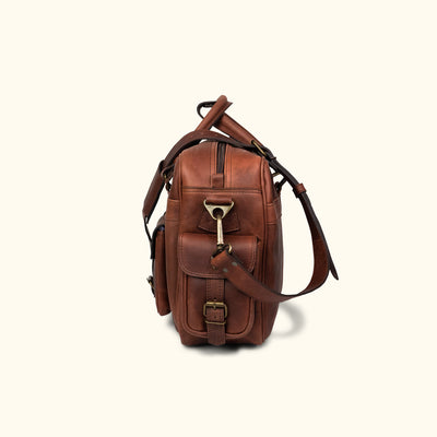 Vintage Leather Pilot Bag - Large | Dark Oak side