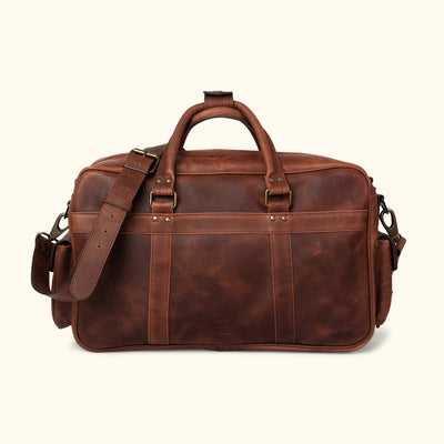 Men's vintage Leather Pilot Bag - Large | Dark Oak back