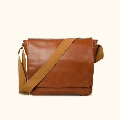 Leather Satchel Messenger Bag | Amber front