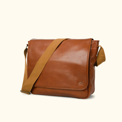 Leather Satchel Messenger Bag | Amber turned