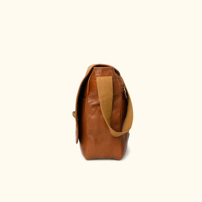 Roosevelt Buffalo Leather Satchel Messenger Bag | Amber