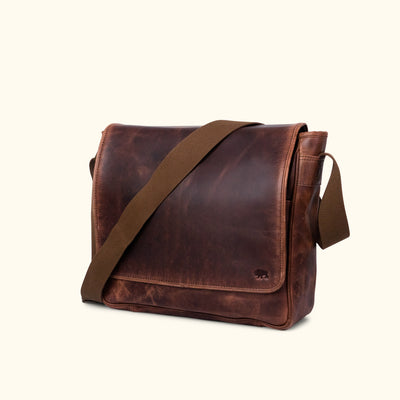 Leather Satchel Messenger Bag Dark Oak turned