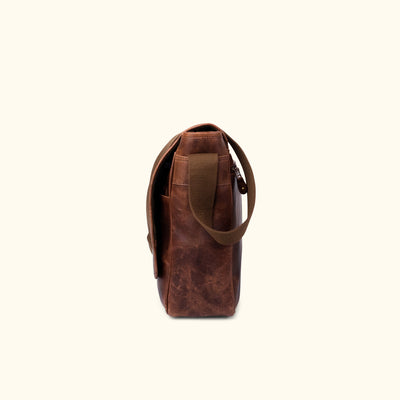 Buffalo Leather Satchel Messenger Bag | Dark Oak side