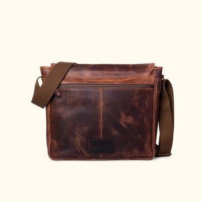 Dark Leather Satchel Messenger Bag back
