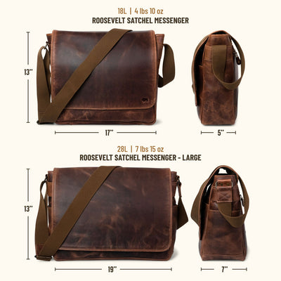 Roosevelt Buffalo Leather Satchel Messenger Bag | Dark Oak