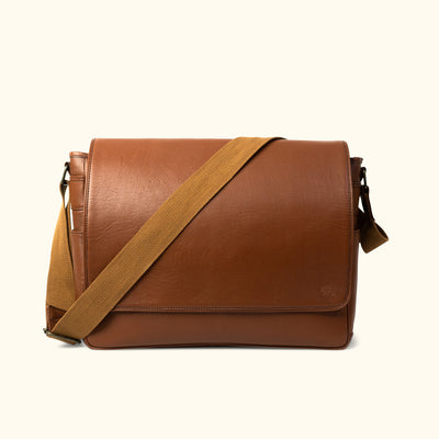 Men's Leather Satchel Messenger Bag | Amber front