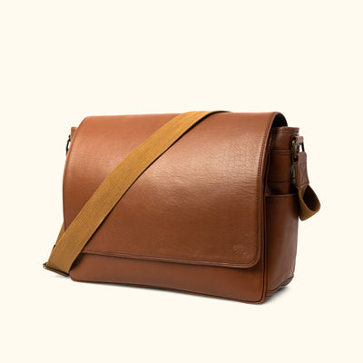 Buffalo Leather Messenger Bag | Amber turned
