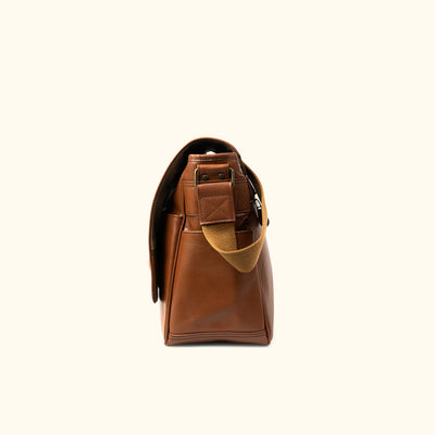 Leather Satchel Bag - Large | Amber side