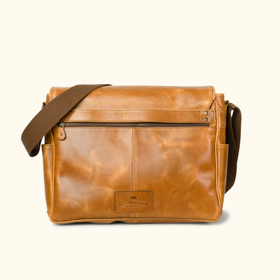 Roosevelt Buffalo Leather Satchel Messenger Bag - Large | Barley