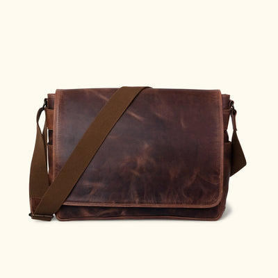 Leather Satchel Messenger Bag - Large | Dark Oak front