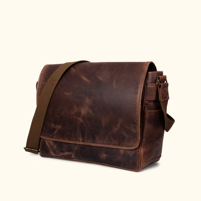 Leather Satchel Bag - Large | Dark Oak turned