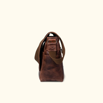 Leather Satchel Messenger Bag - Large | Dark Oak side
