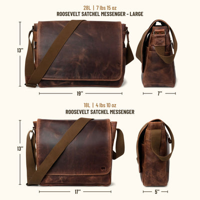 Roosevelt Buffalo Leather Satchel Messenger Bag - Large | Dark Oak