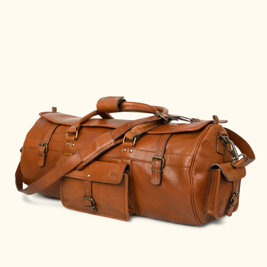 Vintage Leather Travel Duffle Bag | Amber front