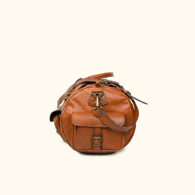 Men's Buffalo Leather Travel Duffle Bag | Amber side