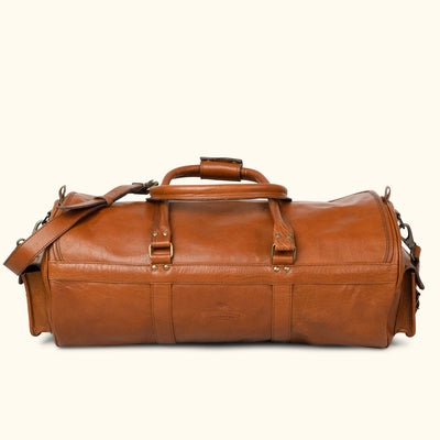 Rugged Leather Travel Duffle Bag | Amber back