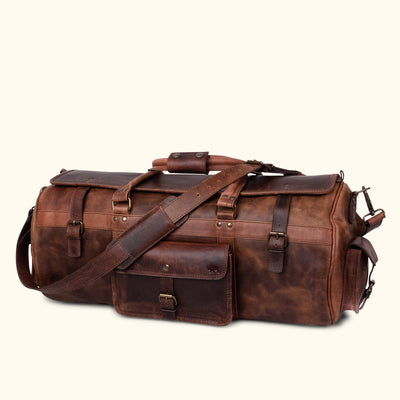 Classic Leather Travel Duffle Bag | Dark Oak turned