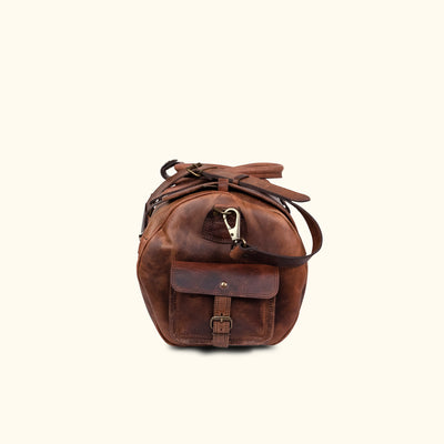 Men's Best Leather Travel Duffle Bag | Dark Oak side