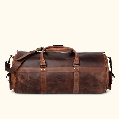 Men's rugged Travel Leather Duffle Bag | Dark Oak back