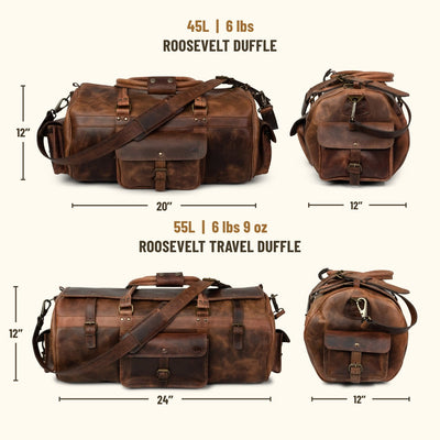 Roosevelt Buffalo Leather Duffle Bag | Dark Oak