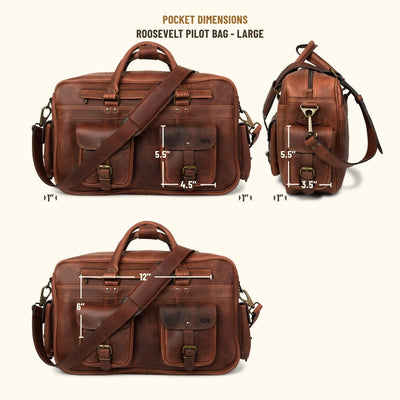 Roosevelt Buffalo Leather Pilot Bag - Large | Dark Oak
