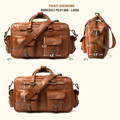 Roosevelt Buffalo Leather Pilot Bag - Large | Amber