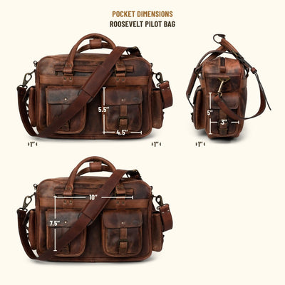 Roosevelt Buffalo Leather Pilot Bag | Dark Oak