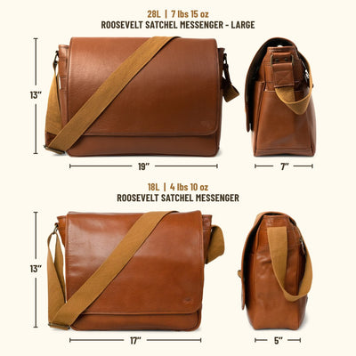 Roosevelt Buffalo Leather Satchel Messenger Bag - Large | Amber