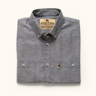 Men's Rugged Cotton button down shirt grey fleck