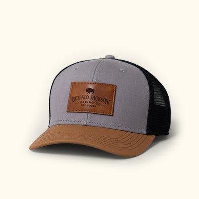 Buffalo Jackson Trucker Hat with Leather logo patch - tan