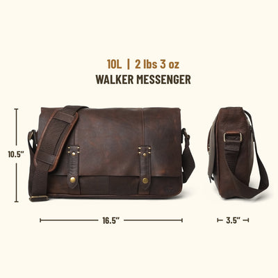 Walker Leather Messenger Bag | Vintage Oak