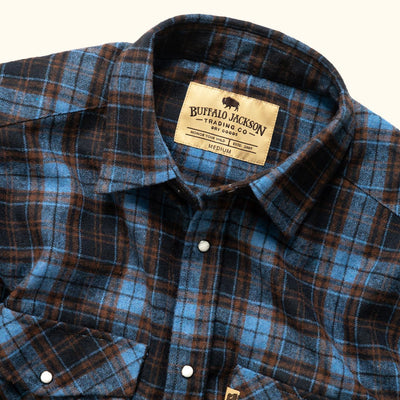 Yosemite Wool Flannel shirt - Vintage Blue