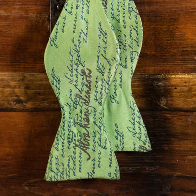 The Gettysburg Address - Abraham Lincoln - Green - Bow Tie