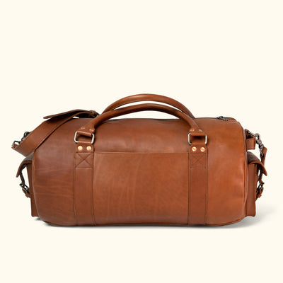 Men's Vintage Leather Travel Duffle Bag | Autumn Brown back