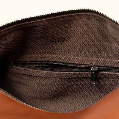 Modern Leather Travel Duffle Bag | Autumn Brown interior