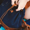 Madison Waxed Canvas Backpack | Navy w/ Saddle Tan Leather