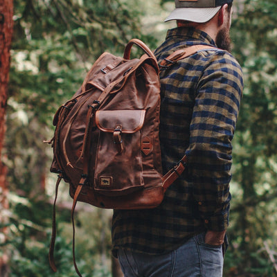 Rugged Waxed Canvas Rucksack | Russet Brown w/ Saddle Tan Leather