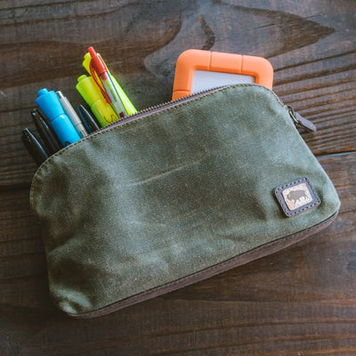 Elkton Waxed Canvas Utility Gear Pouch Combo - Small, Medium & Large | Green