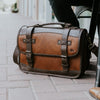 Commuter Leather Belted Briefcase  Brown