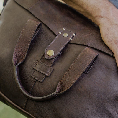 Classic Leather Bag Closeup with Closure