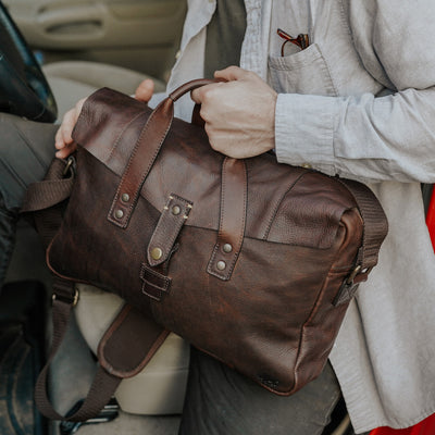 Simple Leather Briefcase Bag | Vintage Oak hover
