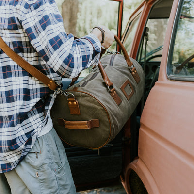 Elkton Waxed Canvas Duffle Bag | Moss w/ Autumn Brown Leather hover