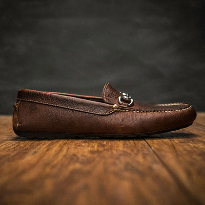 Laramie - Bison Leather - Horse Bit Driving Casual Shoe - Mahogany