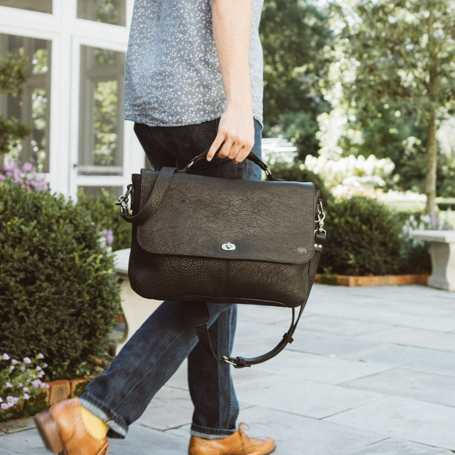 Ryder Reserve Bison Leather Laptop Messenger Bag | Black