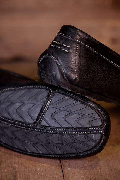 Laramie - Bison Leather - Horse Bit Driving Casual Shoe - Black | Ships 12/15/16