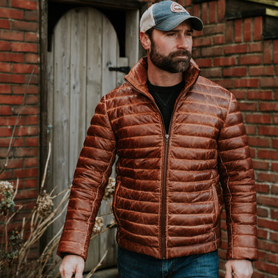 Rugged Leather Down Jacket