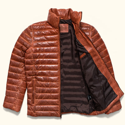 Mens Rugged Leather Down jacket
