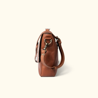 Rugged Leather Laptop Messenger Bag | Autumn Brown side
