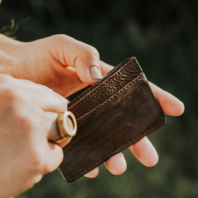 Madison Leather Slim Card Case | Dark Hazelnut