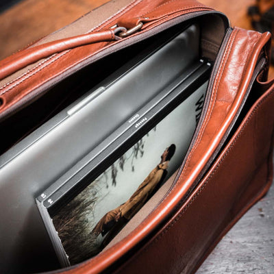 Vintage Buffalo Leather Messenger Bag | Amber interior